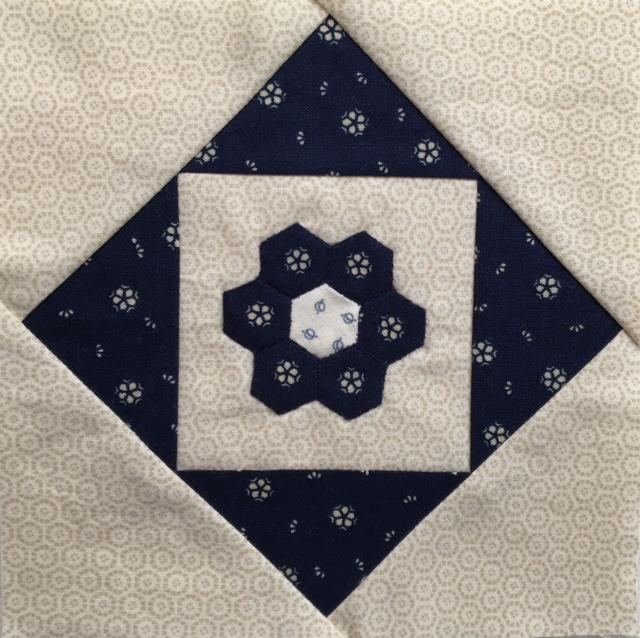 Blue Hexie Flower Block
