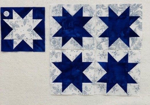 Blue Stars and One White Star for Star of Chamblie Quilt